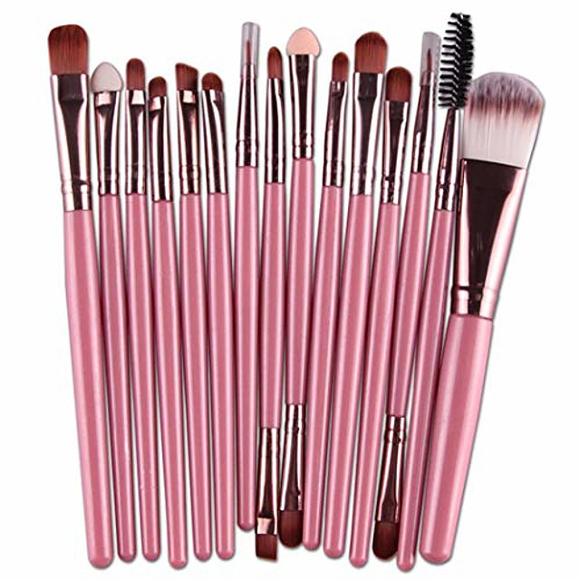 makeup brushes set, 15 pieces professional cosmetic eye foundation face eyeshadow shadow eyeliner blush lip blending makeup brushes tools (fk)