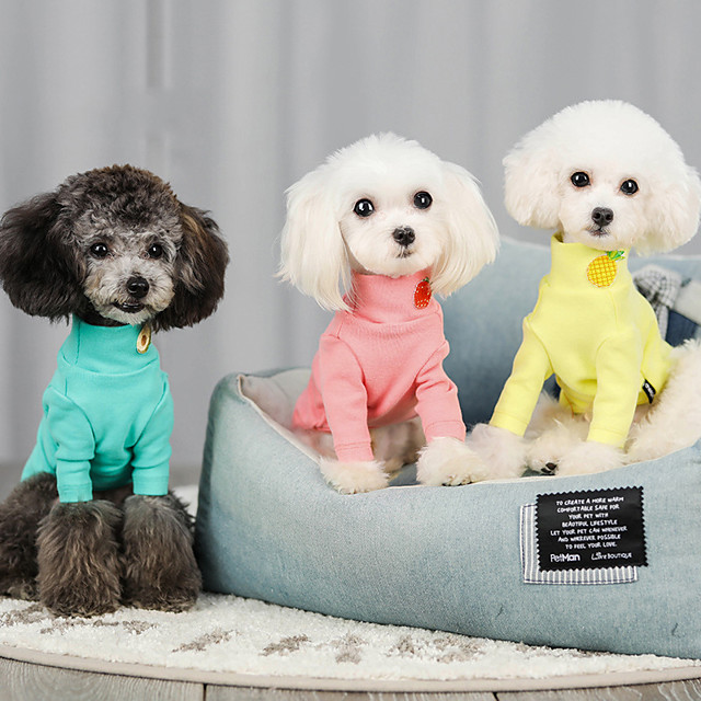 Dog Cat Hoodie T-shirts Solid Colored Casual / Sporty Fashion Casual / Daily Dog Clothes Puppy Clothes Dog Outfits Breathable Purple Yellow Blue Costume for Girl and Boy Dog Cotton S M L XL XXL