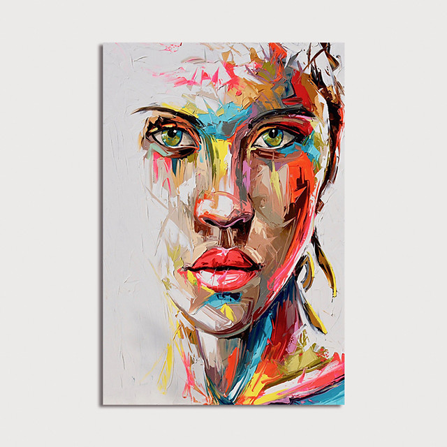 Oil Painting Hand Painted - Abstract People Modern Stretched Canvas