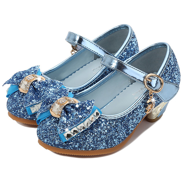 Princess Shoes Masquerade Girls' Movie Cosplay Sequins Blue / Pink / Silver Shoes Children's Day Masquerade