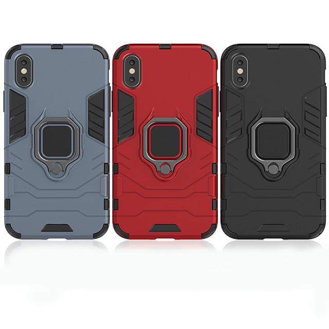 Case For Apple iPhone 11 / iPhone XR / iPhone 11 Pro Shockproof / with Stand / Ring Holder Back Cover Armor TPU / PC