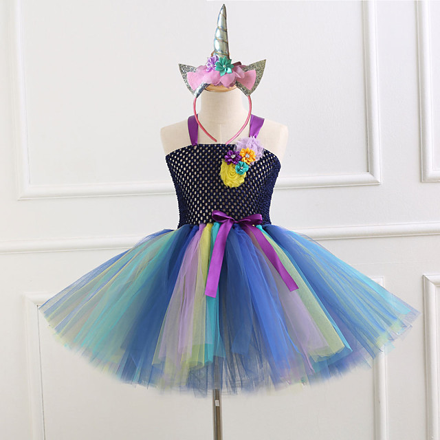 Princess Dress Girls' Movie Cosplay Vacation Dress New Year's White / Black Dress Headwear Christmas Halloween Carnival Polyester / Cotton Polyester