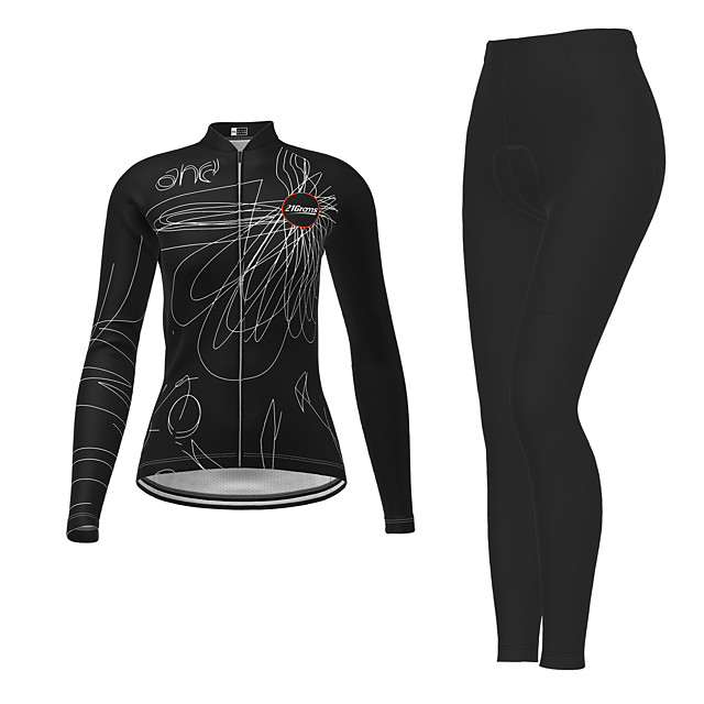 21Grams Women's Long Sleeve Cycling Jersey with Tights Winter Polyester Black Novelty Bike Jersey Tights Clothing Suit Breathable Quick Dry Moisture Wicking Back Pocket Sports Novelty Mountain Bike