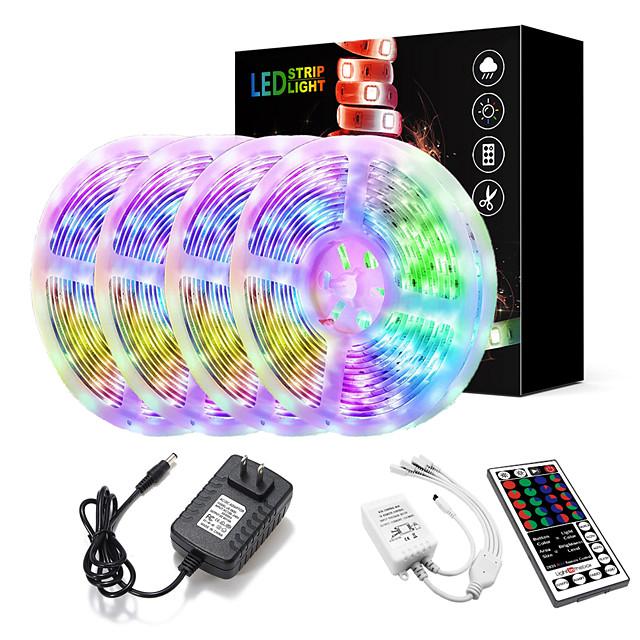 20M(4x5M) LED Light Strips Kit RGB Tiktok Lights 2835 1200 LEDs 8mm Strip Flexible Light LED IR 44Key Remote Controller with EU US AU UK Power Supply AC110-240V