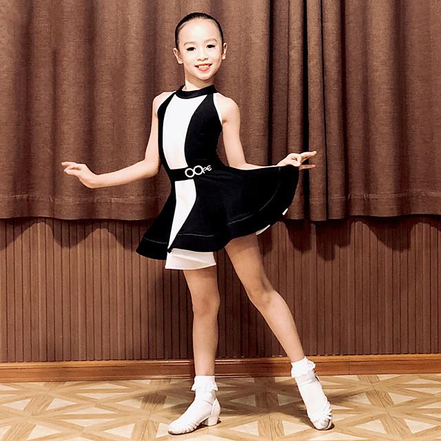 Latin Dance Dress Split Joint Girls' Performance Sleeveless Spandex