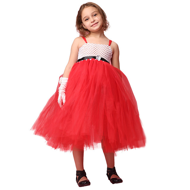 Santa Suit Cosplay Costume Costume Girls' Movie Cosplay Tutus Plaited Vacation Dress Red Dress Christmas Halloween Carnival Polyester / Cotton Polyester