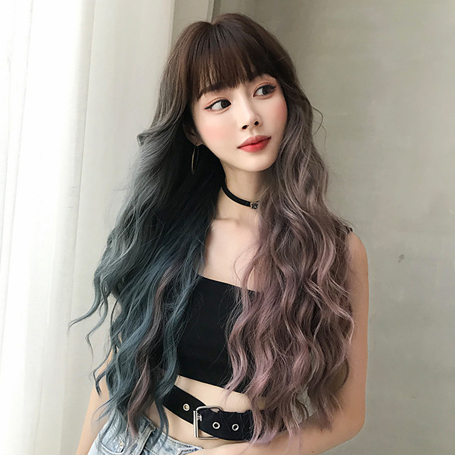 Synthetic Wig Deep Wave With Bangs Wig Very Long Blue Synthetic Hair 30 inch Women's Classic Ombre Hair Exquisite Purple