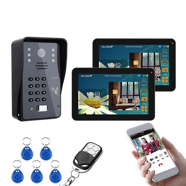 9 Inch 2 Monitors Wired / Wireless Wifi RFID Password Video Door Phone Doorbell Intercom System With IR-CUT 1000TVL Camera