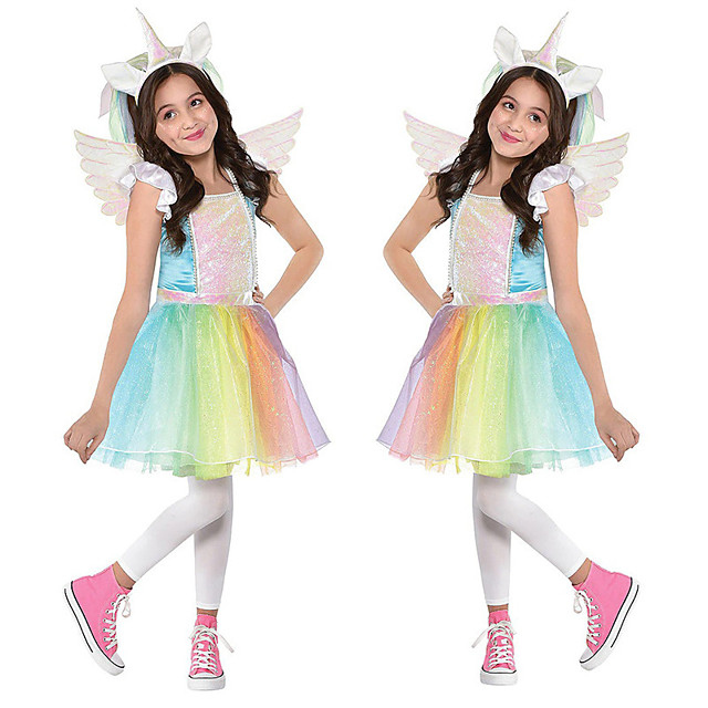 Princess Unicorn Flapper Dress Outfits Masquerade Girls' Movie Cosplay A-Line Slip Cosplay Vacation Dress Rainbow Dress Wings Headwear Halloween Children's Day Masquerade Polyester Organza