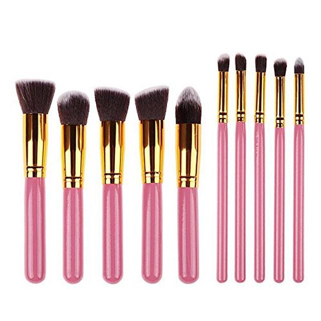 foundation powder brush kabuki concealer blush makeup brushes 10pcs makeup brushes kit professional nylon hair make up brush set (gold ferrule, pink)