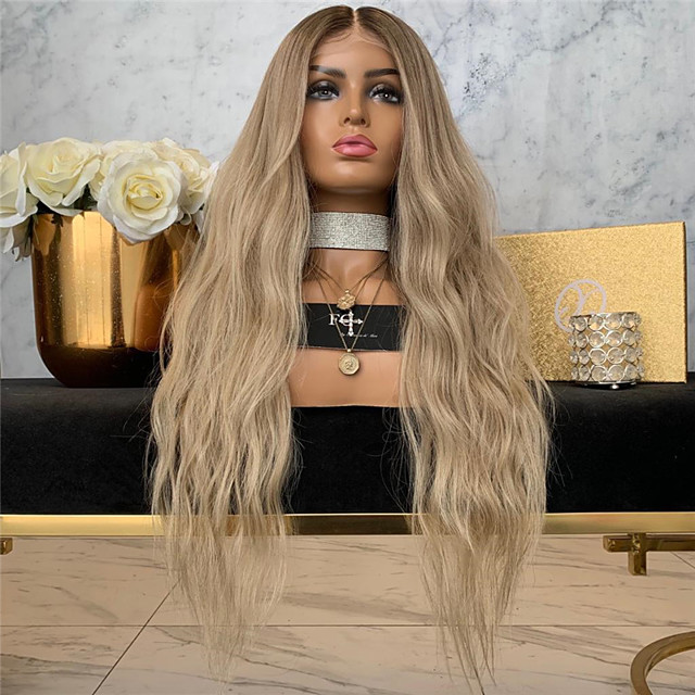 Synthetic Wig Body Wave Middle Part Wig Very Long Blonde Synthetic Hair Women's Middle Part Exquisite Romantic Blonde