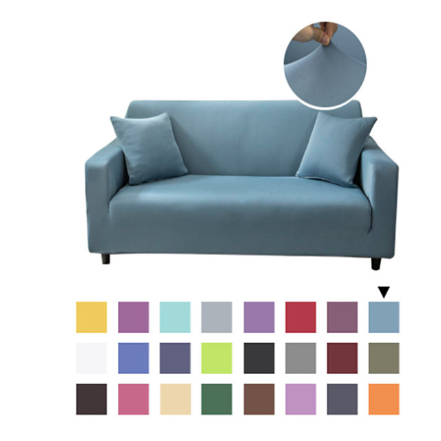 Solid Color Microfiber High Stretch Sofa Slipcover – Spandex Soft Fitted Sofa Couch Cover Washable Furniture Protector with Elastic Bottom for Kids,Pet