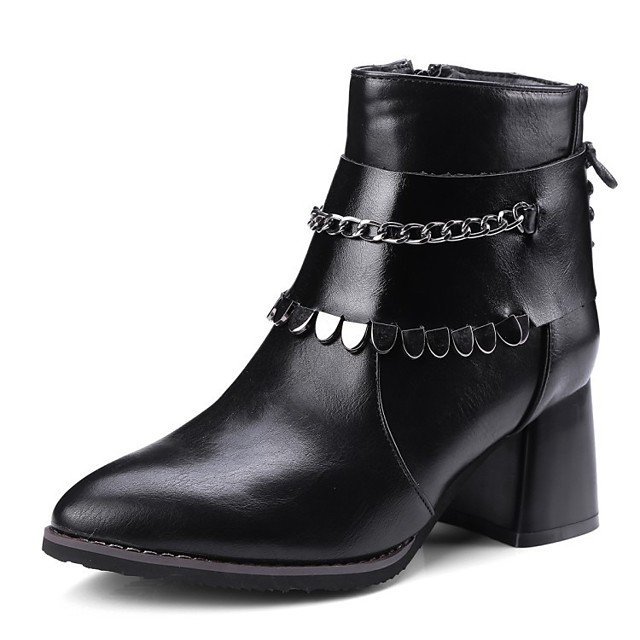 Women's Boots Block Heel Boots Wedge Heel Pointed Toe Booties Ankle Boots Classic Daily PU Solid Colored Black Gray / Booties / Ankle Boots / Booties / Ankle Boots