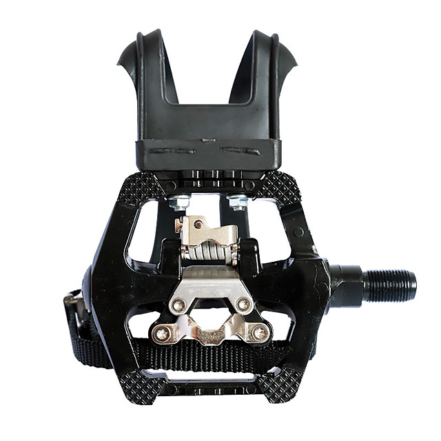 spd pedals - hybrid pedal with toe clip and straps, suitable for spin bike, indoor exercise bikes and all indoor bike with 9/16