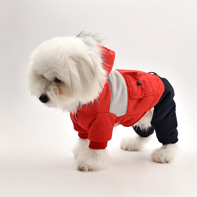 Dog Coat Jumpsuit Color Block Casual / Sporty Fashion Casual / Daily Winter Dog Clothes Puppy Clothes Dog Outfits Breathable Red Blue Gray Costume for Girl and Boy Dog Fleece S M L XL XXL