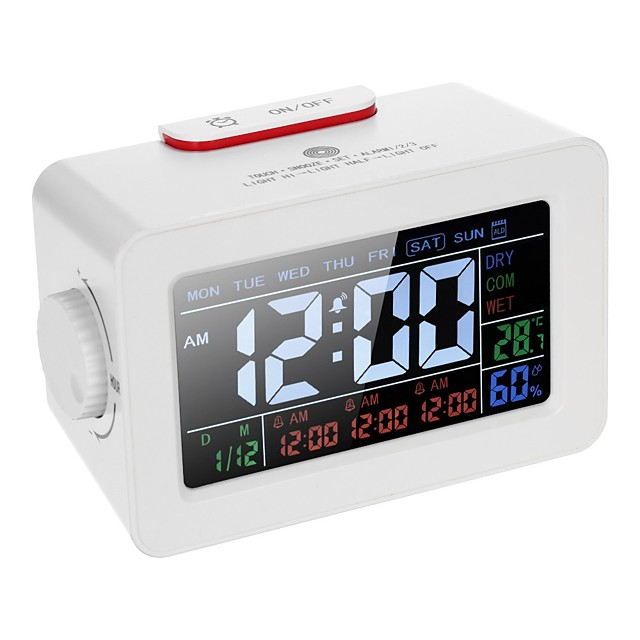 LCD Digital Thermometer Hygrometer Clock / Temperature Humidity Meter 3 Alarm Clocks Snooze Backlight Color Screen Display with Switchable Backlight-eu plug
