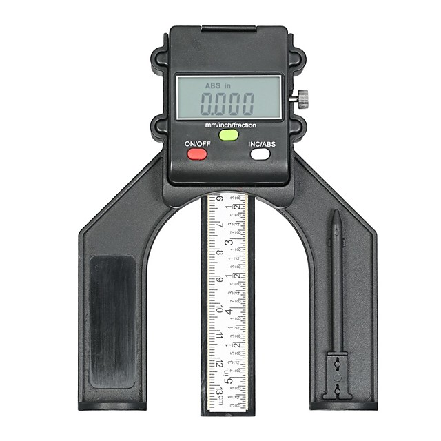 0-130mm Digital LCD Display Height Gauge Depth Gauge Table Saw Height Gauge with Three Measurement Units Locking Screw for Woodworking Router Table