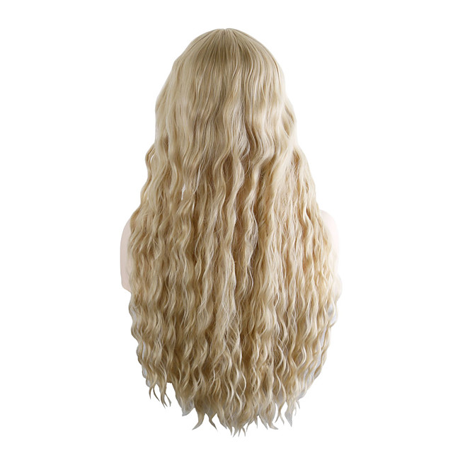 Synthetic Wig Wavy Neat Bang With Bangs Wig Long Light golden Synthetic Hair 30 inch Women's Fashionable Design Party Exquisite Blonde