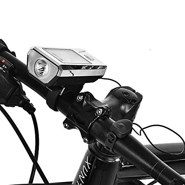 led bike solar head light usb charging cycling front head warning flashlight lamp with horn (black and silver)
