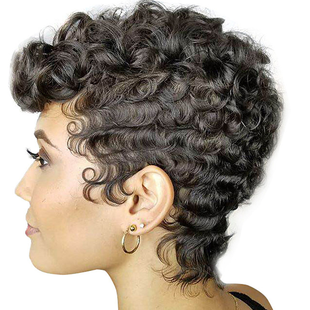 Synthetic Wig Curly Afro Curly Pixie Cut With Bangs Wig Short Brown Black Synthetic Hair 8 inch Women's Adorable Natural Hairline Exquisite Black Brown