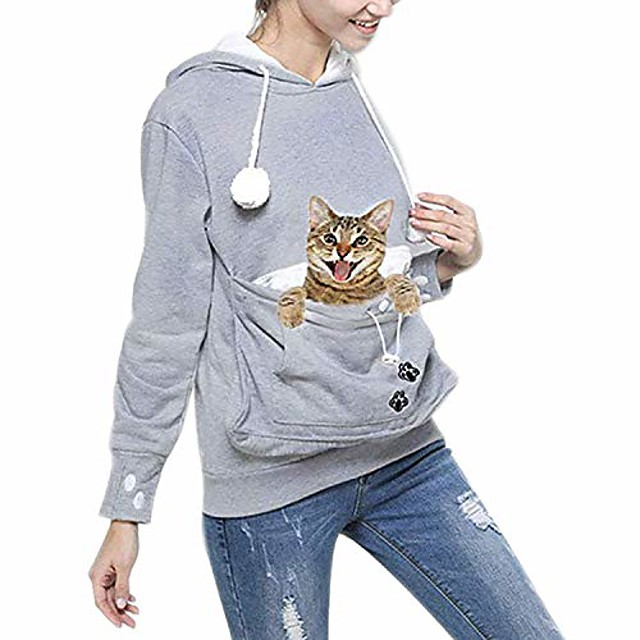 women's pet holder carrier hoodie big pouch sweatshirt casual pullover gray l