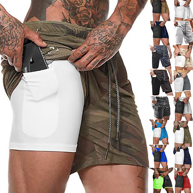 Men's Running Shorts Sports Bottoms 2 in 1 with Phone Pocket Liner Fitness Gym Workout Running Breathable Quick Dry Moisture Wicking Plus Size Sport Cobalt Blue Navy fluorescent green White Black Red
