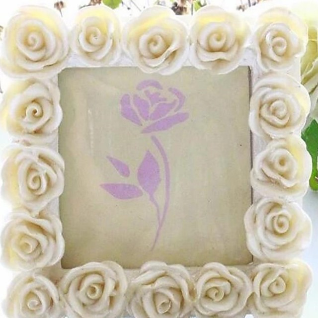 Rose Wedding Photo Frame Vintage 8*8cm 1pc