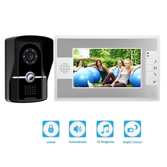 Wired 7 inch Video Doorphone with Camera Video Doorbell Intercom System IP55 Grade Rainproof with IR Nigth Vision