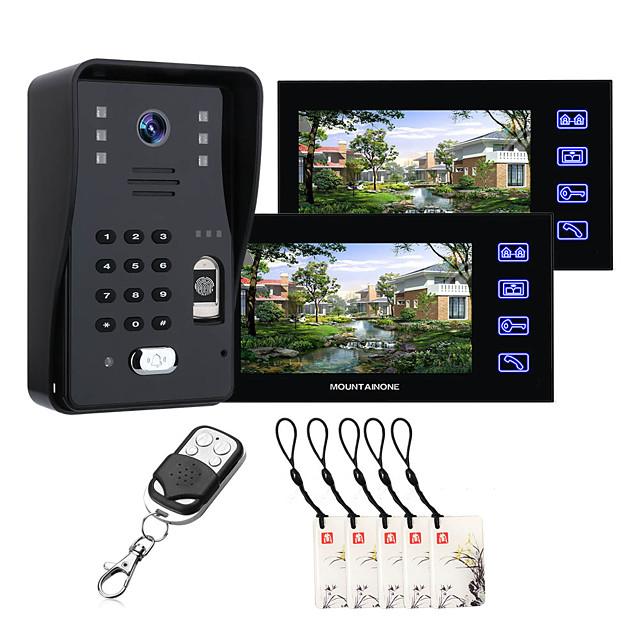MOUNTAINONE SY816MJL12 With 2 Monitors 7inch Fingerprint RFID Password Video Door Phone Intercom Doorbell With Night Vision Security CCTV Camera Home Surveillance