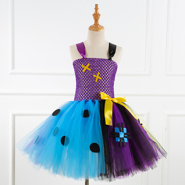 Princess Cosplay Costume Costume Girls' Movie Cosplay Tutus Plaited Vacation Dress Purple / Blue Dress Christmas Halloween Carnival Polyester / Cotton Polyester