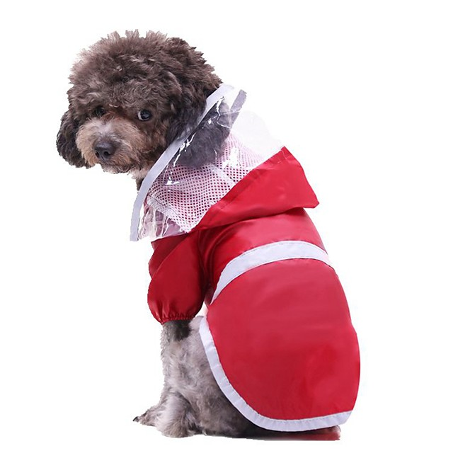 Dog Cat Rain Coat Solid Colored Unique Design Dog Clothes Puppy Clothes Dog Outfits Red Costume for Girl and Boy Dog Polyester S M L XL XXL 3XL