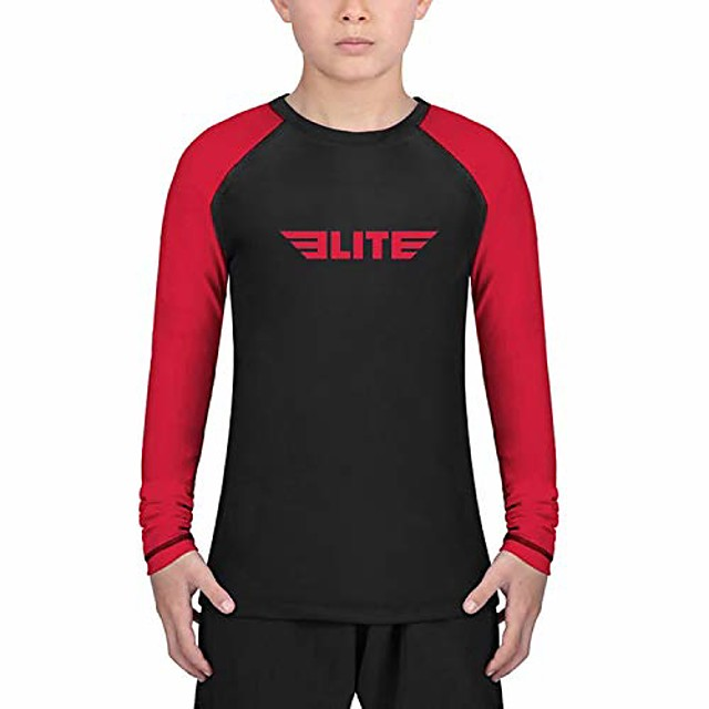 rash guards for boys and girls, full sleeve compression bjj kids and youth rash guard (red, x-small)