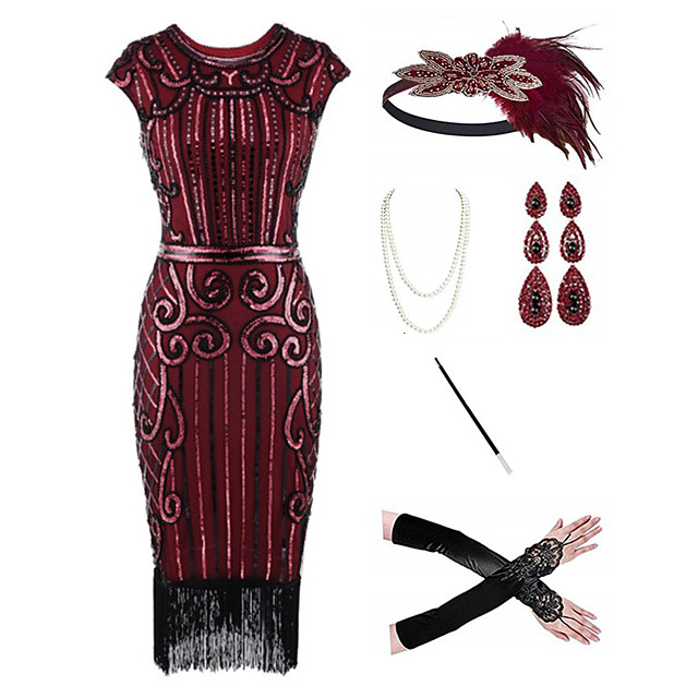 The Great Gatsby 1920s Vintage Vacation Dress Flapper Dress Outfits Masquerade Prom Dress Women's Tassel Fringe Costume Red / black / Red / White / Coral Red Vintage Cosplay Party Prom / Body Jewelry