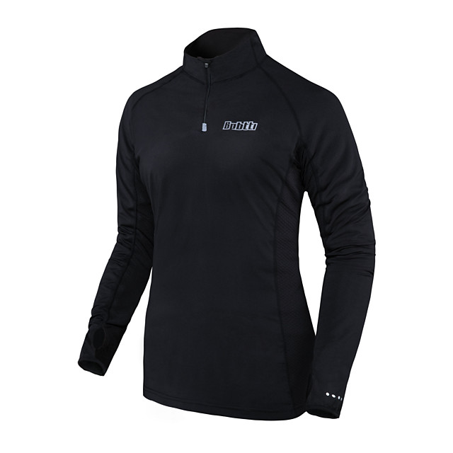 Men's Long Sleeve Cycling Jersey Polyester Black Solid Color Bike Jersey Top Mountain Bike MTB Road Bike Cycling Thermal / Warm Breathable Quick Dry Sports Clothing Apparel / Anatomic Design