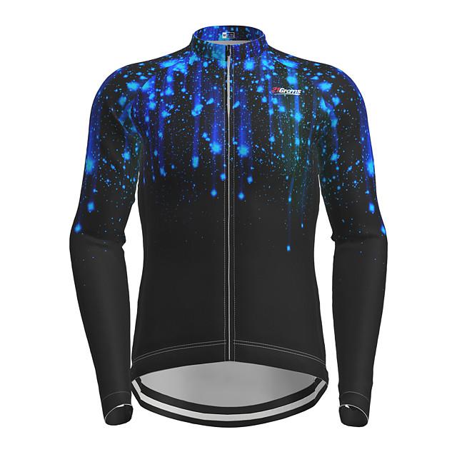 21Grams Men's Long Sleeve Cycling Jersey Black Galaxy Bike Jersey Top Mountain Bike MTB Road Bike Cycling Quick Dry Sports Clothing Apparel / Micro-elastic