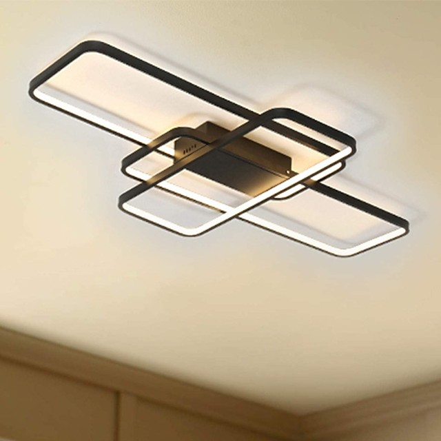 104cm LED 3-Light Linear Flush Mount Light Aluminum Geometric Modeling Pattern 70W Painted Finishes Dimmable With Remote Control Warm White Cold White