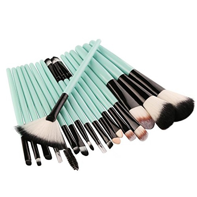 18 pcs makeup brush set tools make-up toiletry kit wool make up brush set for women (green)