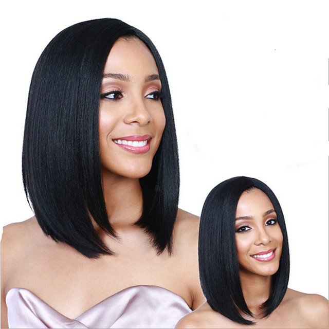 Synthetic Wig Straight Middle Part Wig Short Natural Black Synthetic Hair 14 inch Women's Fashionable Design Middle Part Black