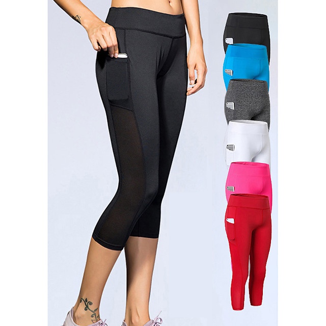 YUERLIAN Women's High Waist Yoga Pants Pocket Capri Leggings 4 Way Stretch Breathable Quick Dry White Black Red Mesh Spandex Fitness Gym Workout Running Sports Activewear High Elasticity Slim