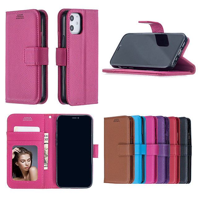 Case For iPhone 5 6 plus 7 plus 8 plus x xs max 11 pro max se 12 Card Holder Shockproof  Flip Full Body Cases Solid Colored PU Leather TPU