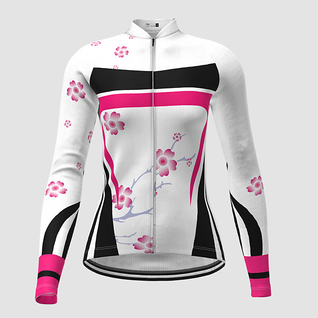 21Grams Women's Long Sleeve Cycling Jersey Winter Polyester White Novelty Floral Botanical Bike Jersey Top Mountain Bike MTB Road Bike Cycling Quick Dry Back Pocket Sports Clothing Apparel