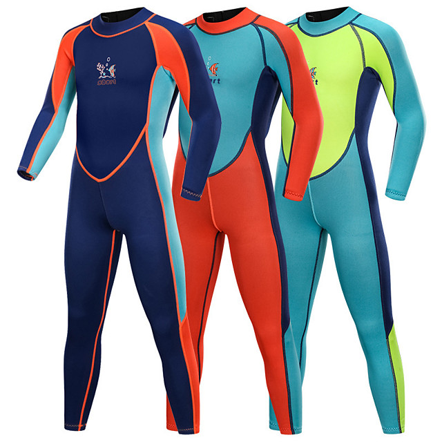 Boys' Girls' Full Wetsuit 2mm SCR Neoprene Diving Suit Quick Dry Long Sleeve Back Zip Patchwork Autumn / Fall Spring Summer / Stretchy / Kids