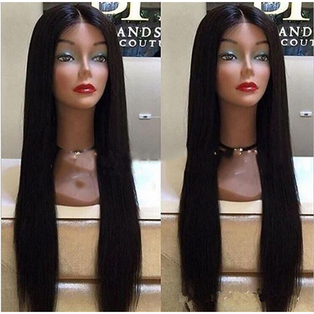 Synthetic Wig Straight Middle Part Wig Very Long Natural Black Synthetic Hair Women's Fashionable Design Waterfall Black