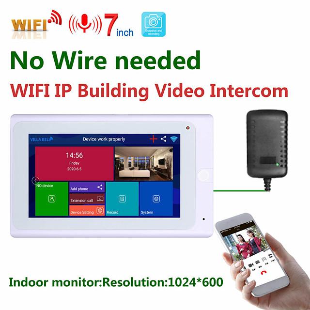 MOUNTAINONE SY706W 7 Inch Wireless Indoor Monitor WIFI Video Doorbell Intercom System 1080P AHD Camera
