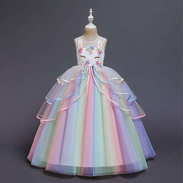 Kids Little Girls' Dress Floral Party Princess Unicorn Rainbow Color Block Tulle Dress Birthday Layered Ruffled White Blushing Pink Maxi Sleeveless Princess Sweet Dresses Regular Fit 3-12 Years