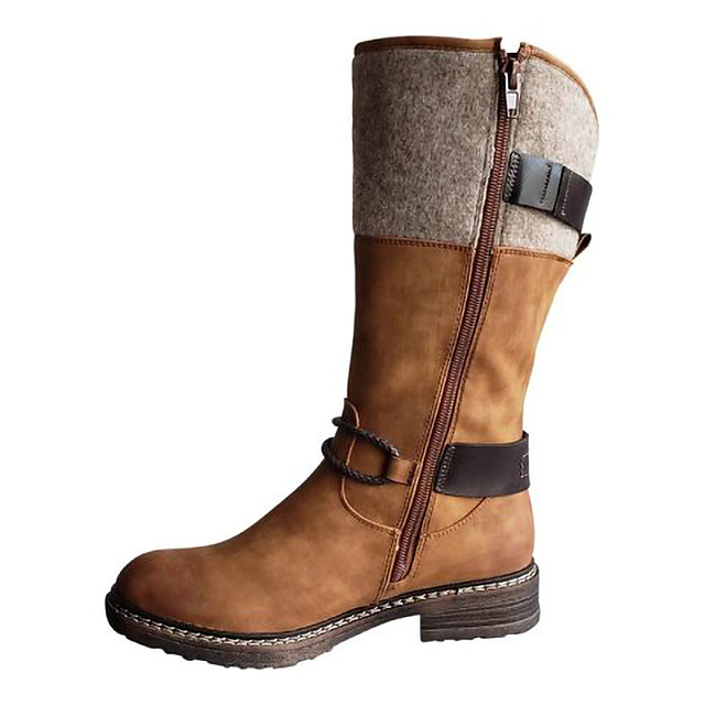 Women's Boots Cowboy Western Boots Cuban Heel Round Toe Mid Calf Boots Casual Basic Daily Walking Shoes Nubuck Black Brown Gray / Mid-Calf Boots