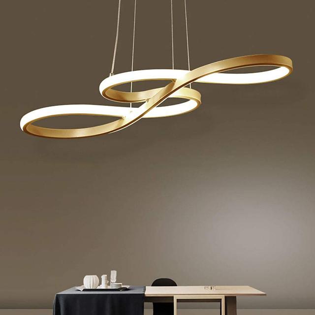 1-Light 74cm Acrylic Dimmable Pendant Lights Chandelier Adjustable Half Flush Mount Ceiling Hanging Lamp for Home Livingroom Lighting White Black Gold