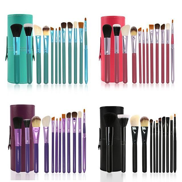 12 Pcs Cylinder Makeup Brush Beauty Tools Wool Makeup Brush Set Cylinder Animal Hair Makeup Brush Set