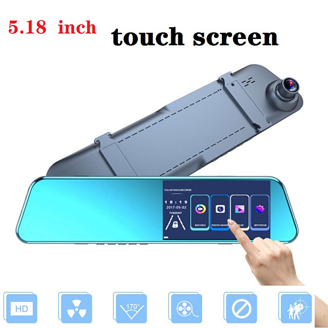 Full Hd Touch Screen 1080P Auto Dvr Camera Auto 5.18 Inch Achteruitkijkspiegel Digitale Video Recorder Dual Lens Registratory camcord