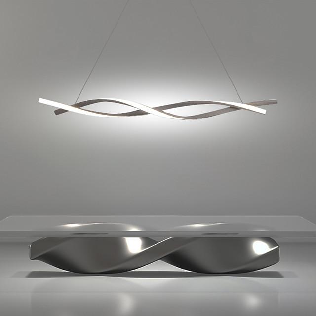 2-Light 100cm LED Pendant Light Adjustable Chandelier 36W Aluminum Linear Painted Finishes Curl Wave Design 110-120V 220-240V